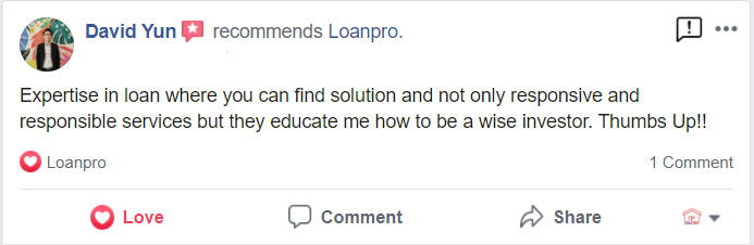 Loanpro review from Facebook